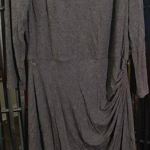 RALPH LAUREN SHIRRED LONG SLEEVE DRESS